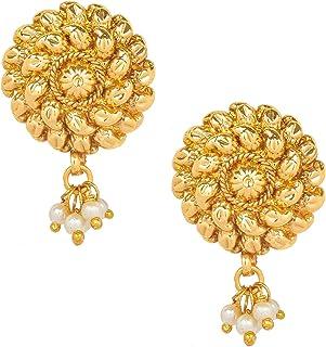 SJ/_1431 Bodha 22K Bollywood Traditional Indian Kundan Coin Gold Stud Earrings For Women