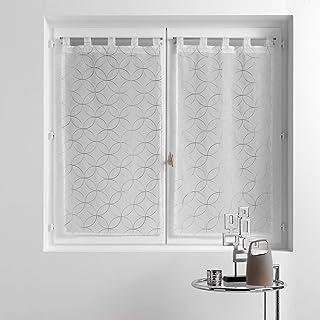 douceur d'intérieur, Paire de voilages à passants 2 x 60 x 120 cm voile sablé brodé olympia gris