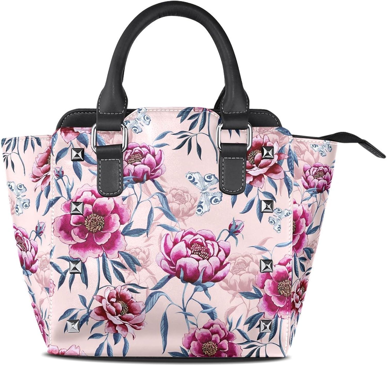 My Little Nest Women's Top Handle Satchel Handbag Peonies Leaves Butterflies Ladies PU Leather Shoulder Bag Crossbody Bag