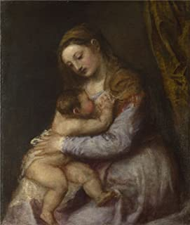 Oil Painting 'Titian The Virgin Suckling The Infant Christ ' Printing On High Quality Polyster Canvas , 10 X 12 Inch / 25 X 30 Cm ,the Best Kids Room Artwork And Home Decor And Gifts Is This High Resolution Art Decorative Canvas Prints