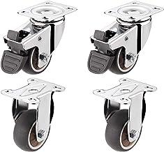 4 stks Meubelwielen, Vaste Caster Brake Lock Universal Wheel Combinatie, 1/1,5 / 2inch, met verbindingsstuk Castor Wheels ...