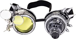Spiked Steampunk Goggles with Double Ocular Loupe Vintage Welding Punk Gothic Glasses
