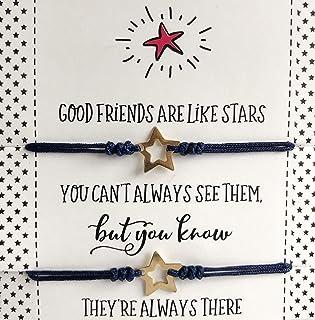 Long Distance Best Friend Gift Set of 2 Matching Star Bracelets