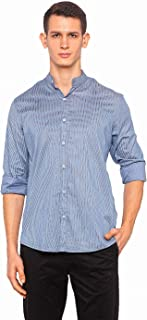 nick&jess Semi Formal Mandarin Collar Formal Cotton Shirt for Men