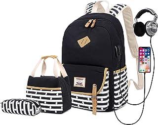 "Delapuy Canvas Waterproof Backpack for College Girls Women USB Charging Port Fits 14"" Laptop Backpack Daypack School Bookbag"