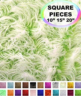 Barcelonetta | Faux Fur Squares | Shaggy Fur Fabric Cuts, Patches | Craft, Costume, Camera Floor & Decoration (Frosted Green, 28