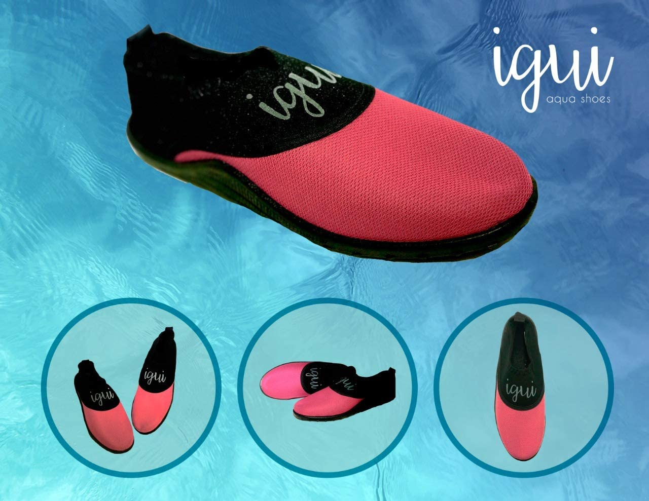 igui Aqua Shoes, Water Shoes, Pink Black Diamond,Water Shoes for Women, Aqua Shoes for Women (1 Pair)