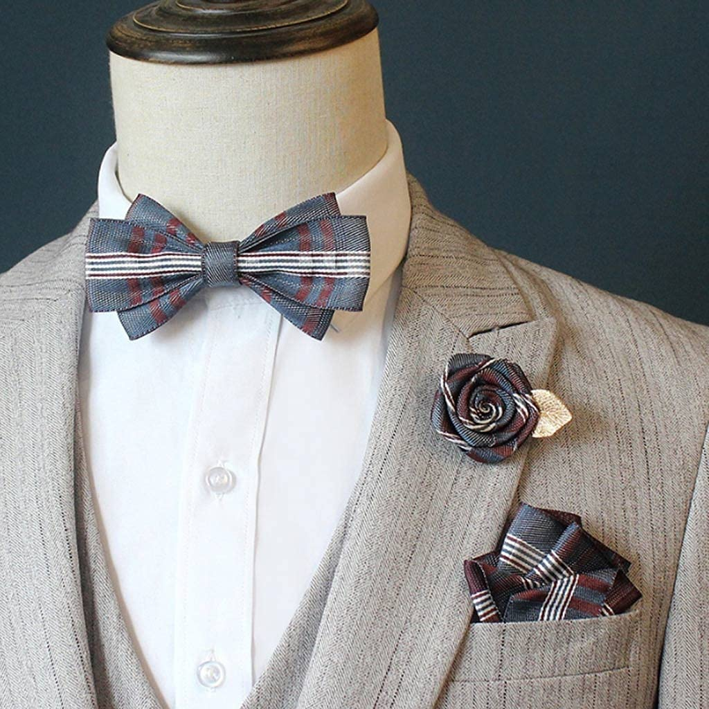 TTKD Men's Bow Tie Suit Suit Pocket Square Rose Flower Brooch Wedding Groom Groomsmen Bow Tie Korean Collar Flower (Color : B)