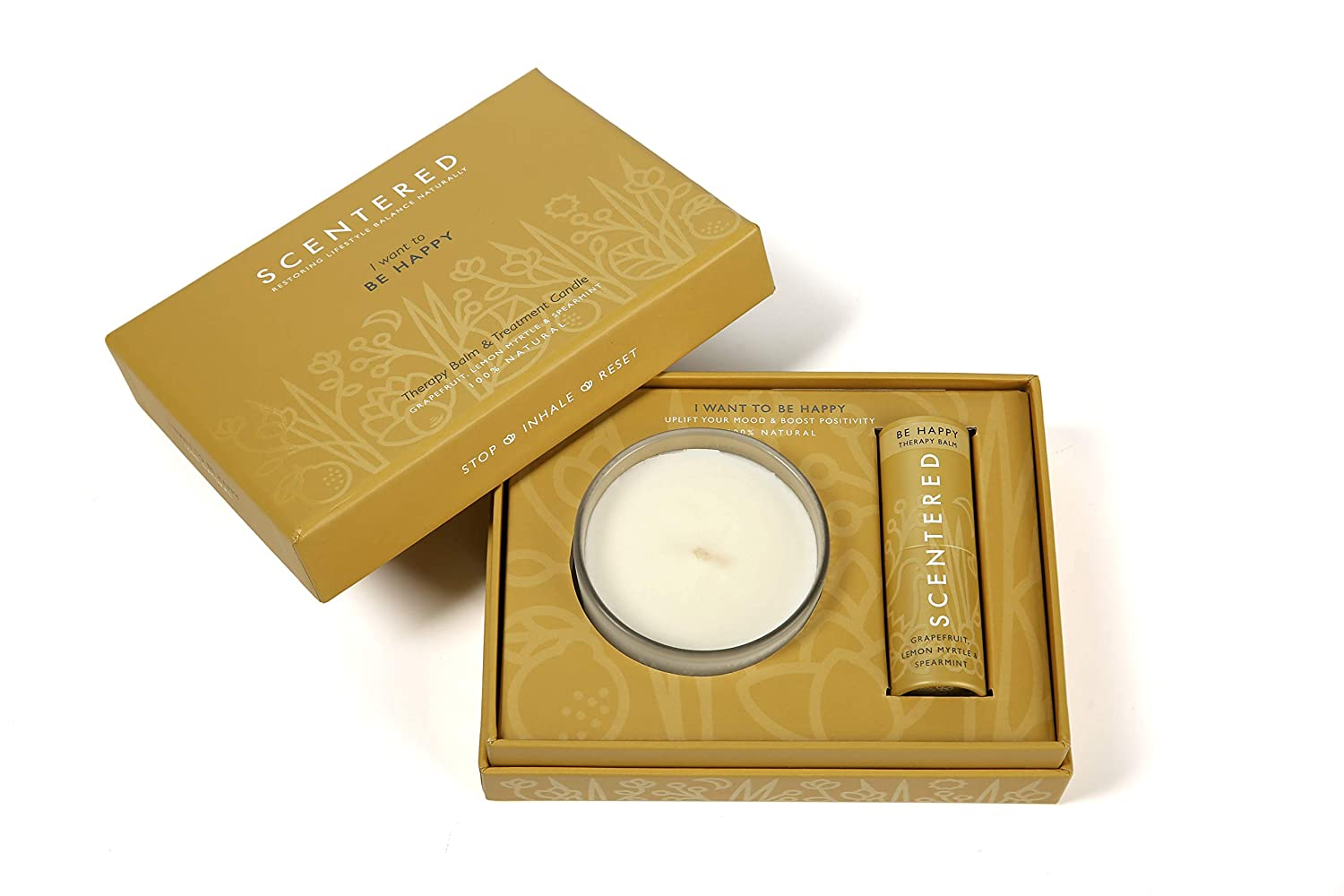 Scentered I Want to BE Happy Balm Aromatherapy Candle Set Gift Max 55% OFF 100% quality warranty