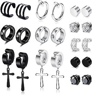 YADOCA 11 Pairs Non-piercing Cross Dangle Hoop Earrings Magnetic Stud Earrings Unisex Fake Ear Hoop Cuff Helix Clip on Car...