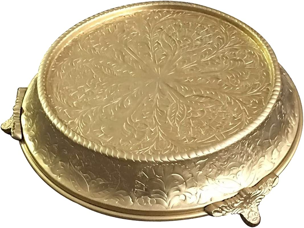 GiftBay Creations Wedding Cake Stand Tapered 18 Round Gold Finish Built Of Strong Aluminum For Multi Layer Cake Weight CSG64418
