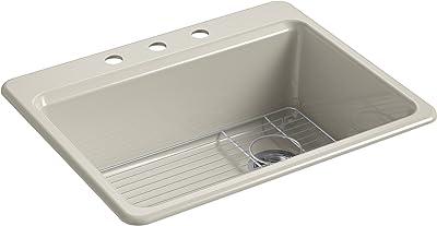 "KOHLER K-8668-3A1-G9 Riverby Kitchen Sink, 27"" x 22"" x 9-5/8"", Sandbar"