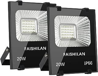 FAISHILAN 2 Pack 20W LED Flood Light, 20W(100W Halogen Equiv),Outdoor IP66 Waterproof Work Lights, 3000Lm,6500K,Outdoor Floodlight for Garage, Garden, Lawn and Yard