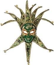 Loftus International Jester W Bells Full Face Venetian Mask Green Gold One Size Novelty Item
