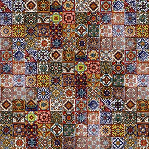 Cerames Caliente - 120 mexikanische Fliesen 5 x 5 cm Talavera Badezimmer- und Küchenfliesen Dekoration für Badezimmer, Dusche, Treppen, Küchenrückwand