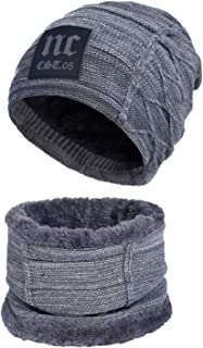 2-Pieces Winter Beanies Hat Scarves Set Warm Knit Hat Thick Fleece Lined Winter Hats Scarf For Men Women