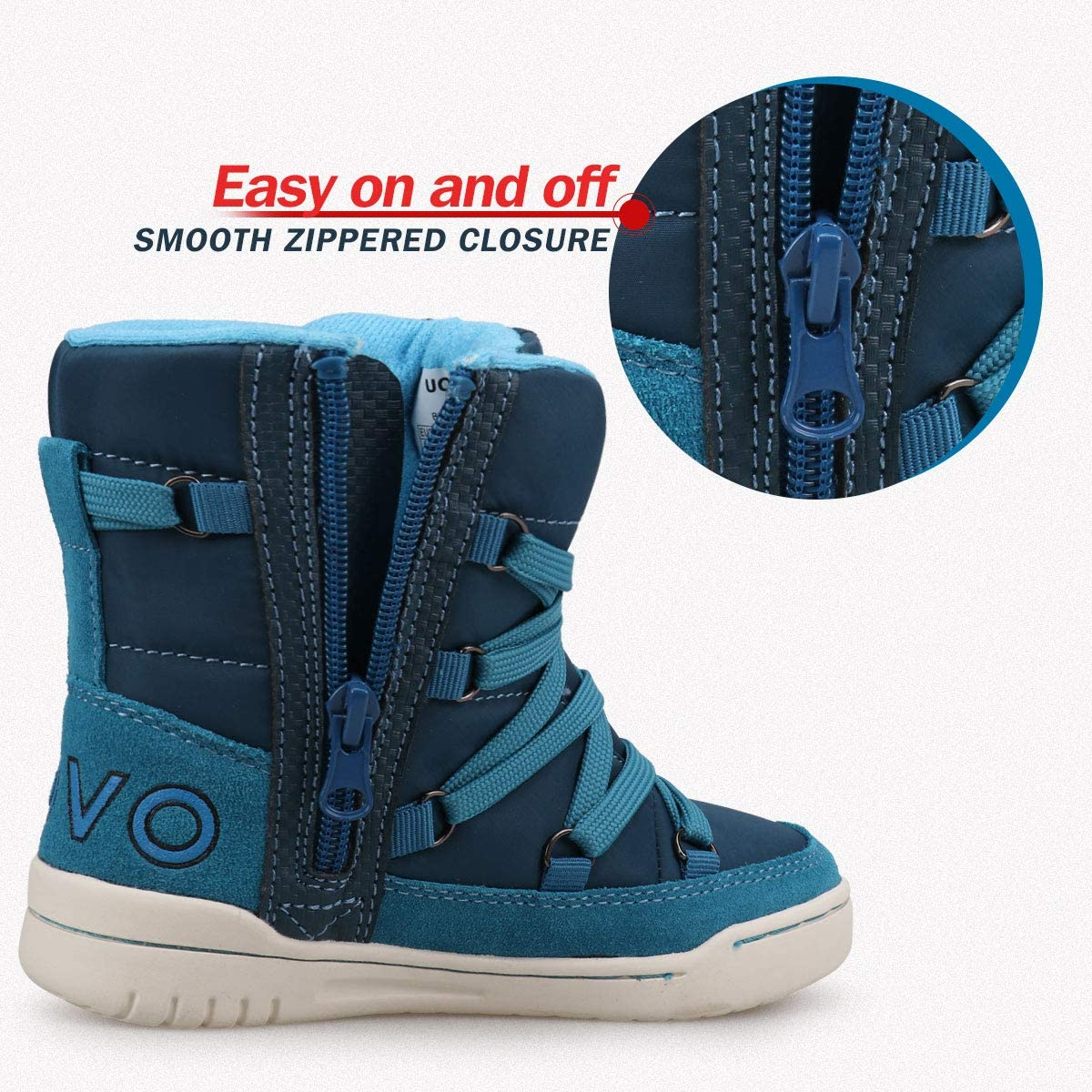 Toddler//Little Boys Boys Snow Boots Boys Winter Boots for Kids Waterproof Winter Snow Boots for Boys Warm Fur Lined Slip Resistant Outdoor