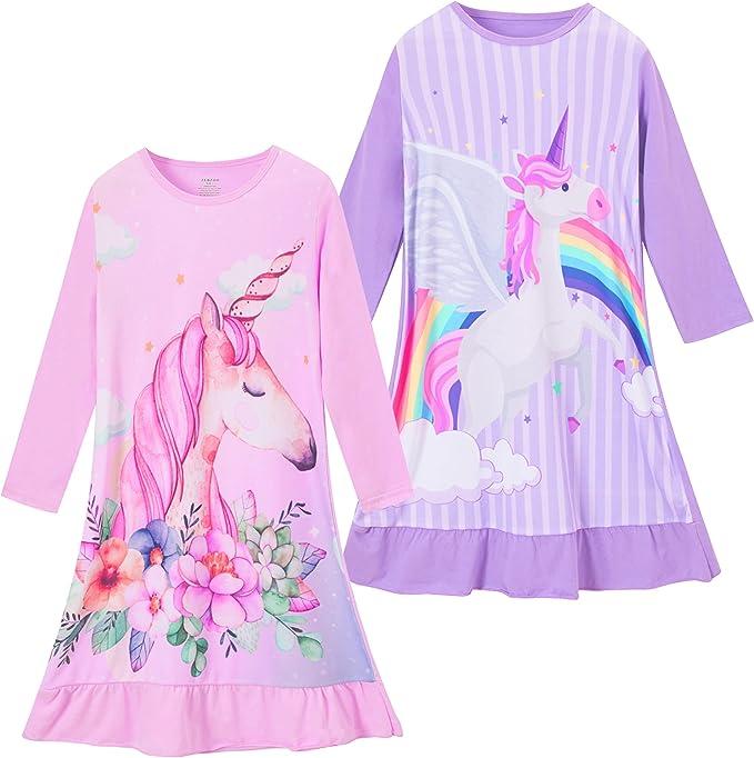 ZEBZOO Girls Nightgowns Kids Pajamas Cotton Night Dress Long Sleeve Sleepwear 3-10 Years