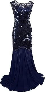 Vijiv 1920s Long Prom Dresses Sequins Beaded Art Deco Evening Party V Neck Back