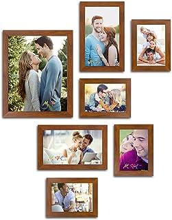 Art Street Triumphet Set of 7 Individual Brown Fiber Wood Wall Photo Frames (Mix Size)(4 Units 5X7, 2 Units 6X10, 1 Unit 1...