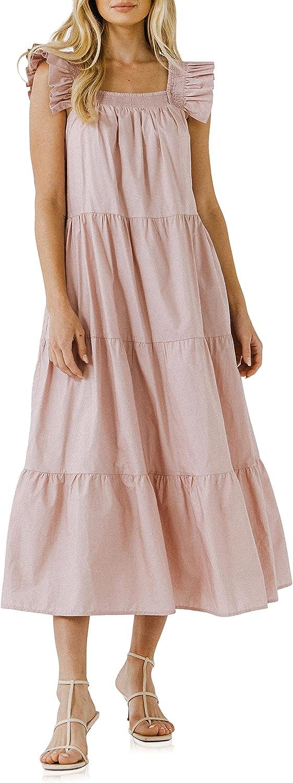 English Factory Women's Tiered Midi Dress