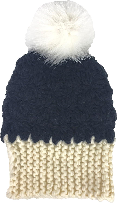 Dena Women's Chunky Knit Hat Fox Fur Pom Pom, Black Ivory