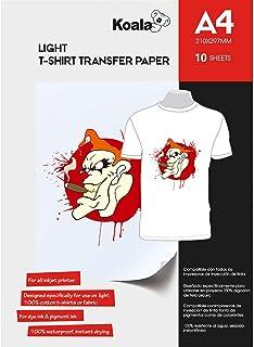 comprar comparacion KOALA Papel de transferencia de tinta para camisetas de blancas y claras, 10 hojas, A4