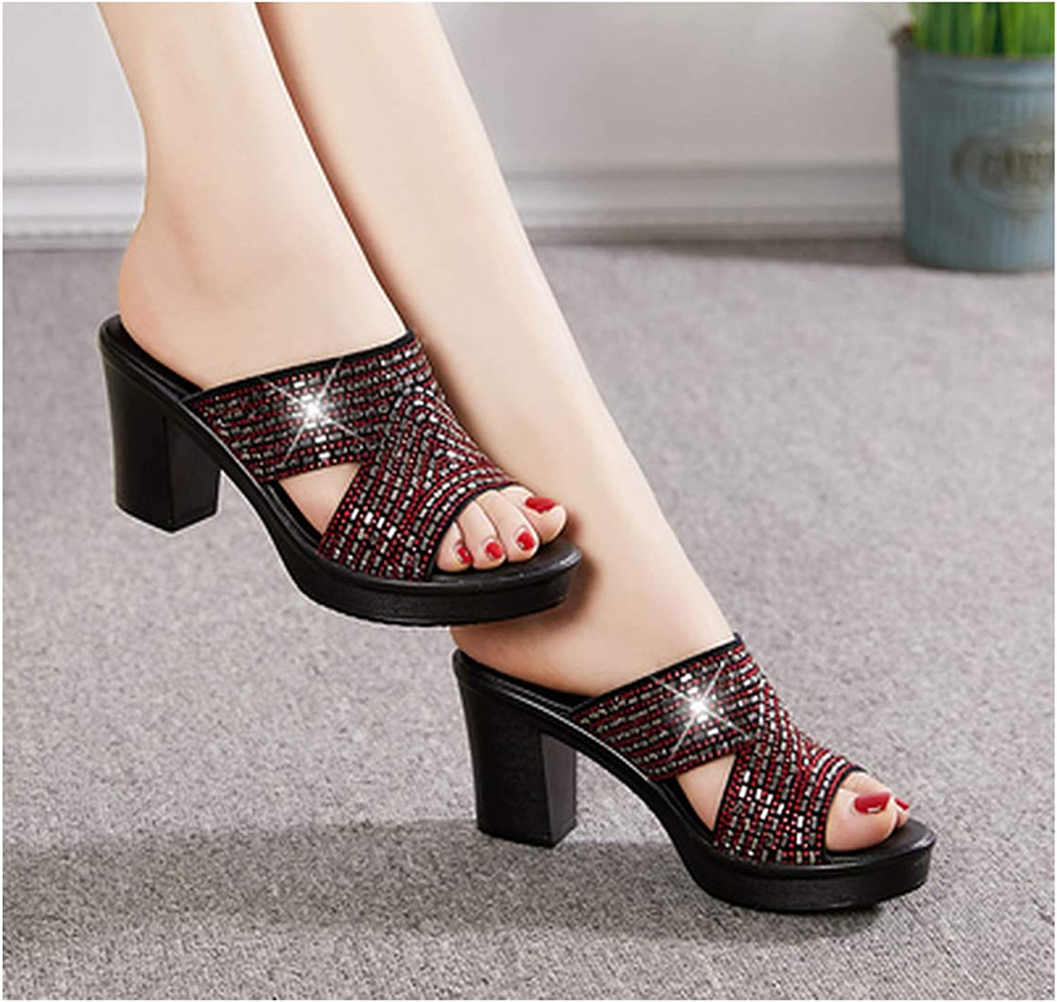 PREtty-2 Genuine Leather Women Slipper's 2019 Slippers Women High Heels Rhinestone Summer shoes