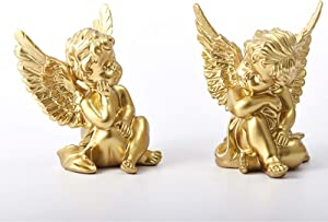 Lemonadeus Gold Angels Resin Cherubs Statue Figurine Indoor Outdoor Home Garden Decoration Adorable Angel Sculpture Cute Angel Collection Wings Angel Memorial Statue 4.25