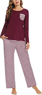 Aibrou Pigiama Donna Invernale,Pigiama Due Pezzi Donna Manica Lunga Pantalone Lungo,Pigiami da Donna con Tasca e Stampato ...