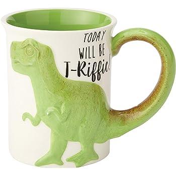 "Enesco Our Name is Mud ""Tea Rex"" Stoneware Coffee, 16 oz. Sculpted Mug, Green"