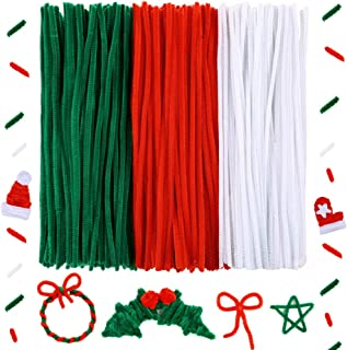 Caydo 300 Pieces 12 inch Christmas Pipe Cleaners for Christmas DIY, Creative Crafts Decorations (Red, Green, White)