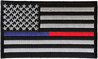 Red and Blue Line Law Enforcement and Firefighter Support American Flag Patch - 3.5x2.1 inch
