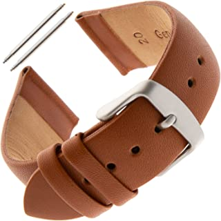 16-24mm Unisex Padded No-Stitch Calfskin Leather Watch Band FW60