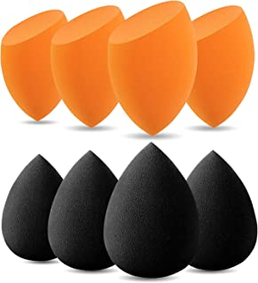BEAKEY Makeup Sponge, 8 Pcs Latex-free and Vegan Makeup Blender Beauty Sponge, Flawless for Cream, Liquid Foundation & Powder Application (Black & Orange)