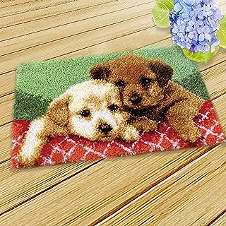 MLADEN DIY Crochet Yarn Kits,Needlework Latch Hook Kit Unfinished Crocheting Rug Yarn Cushion Embroidery Carpet Set (Dog,19.5