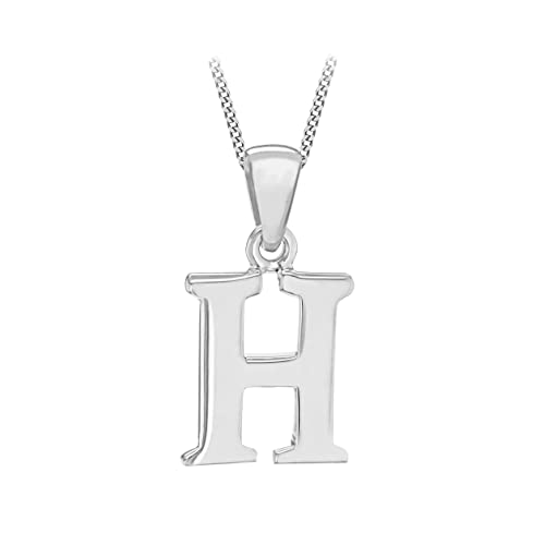 Sterling Silver Diamond Initial Charm Letter H Hand Stamped With 20 Silver Bead Chain