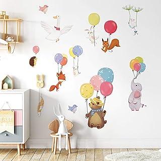 decalmile Stickers Muraux Ballons avec Animaux Autocollant Mural Ours Renard Eléphant Décoration Murale Chambre Enfants Bé...