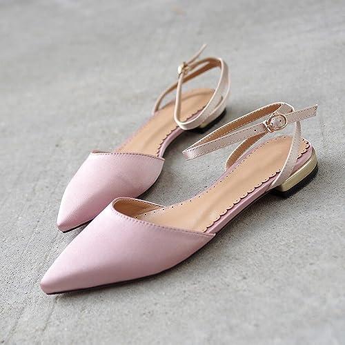 DIDIDD Baotou Sauvage Pointu Rétro Chaussures de Fée Rouge Net,Nu,40