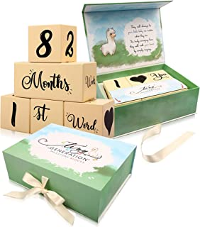 Baby Milestone Blocks by Tiny Generation | Wooden Monthly Photo Age Props | Set of 5 for All 52 Week Combinations Plus Bonus Quotes | Premium Box Packaging Perfect Pregnancy Countdown and Shower Gift