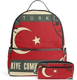 FANTAZIO Mochilas bolsa de lápiz de la bandera de Turquía sello escuela bolsa conjunto