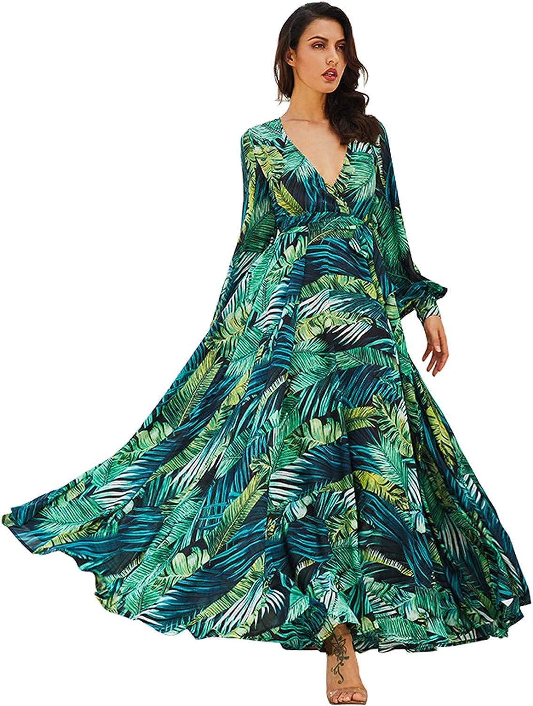 R.Vivimos Women's Chiffon Print V Neck Long Sleeve Tie Waist Casual Boho Maxi Dresses
