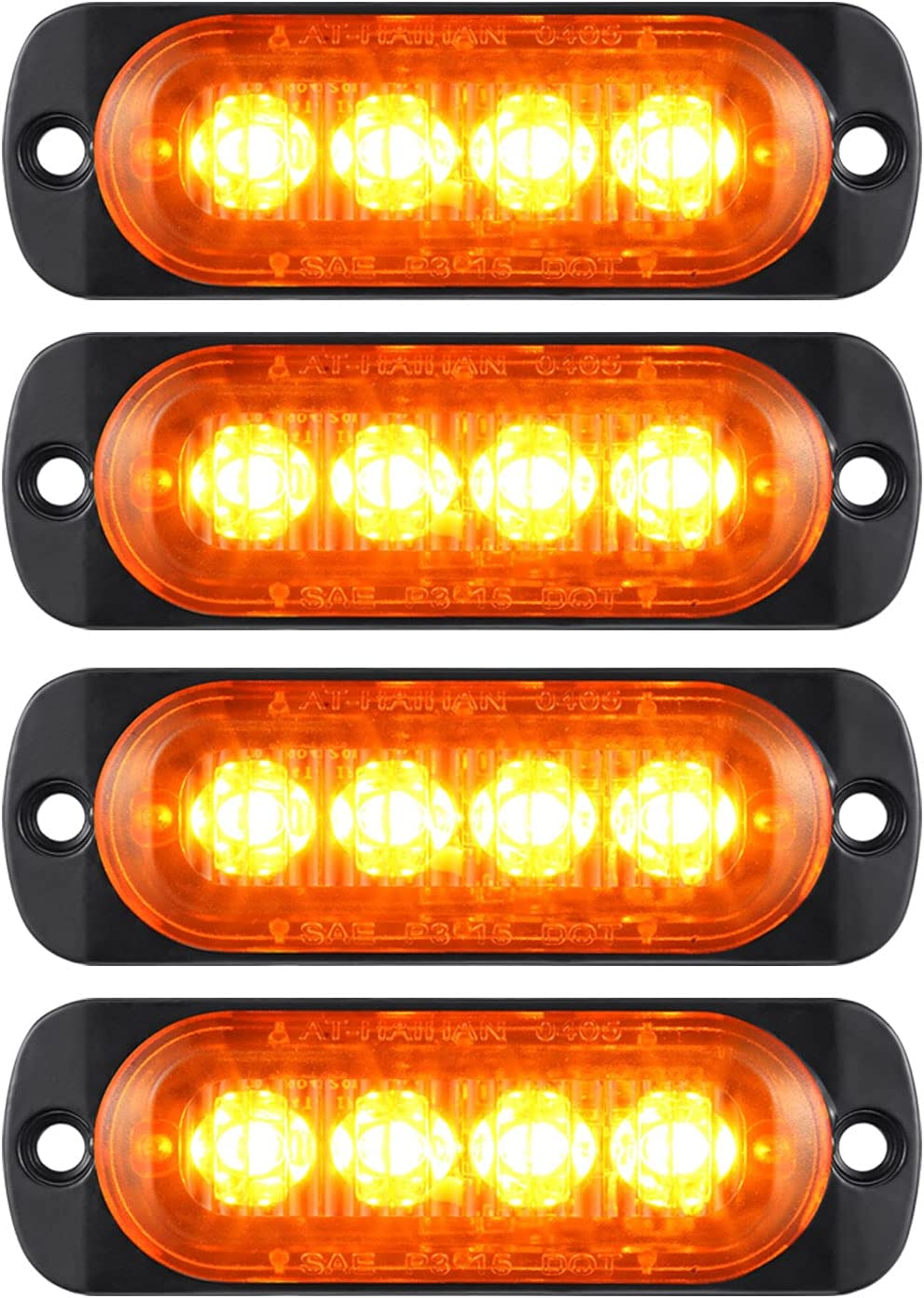 Pack of 4 Max 47% OFF Aluminum Housing Amber Clearance quality assurance Side Trailer Lamp LED