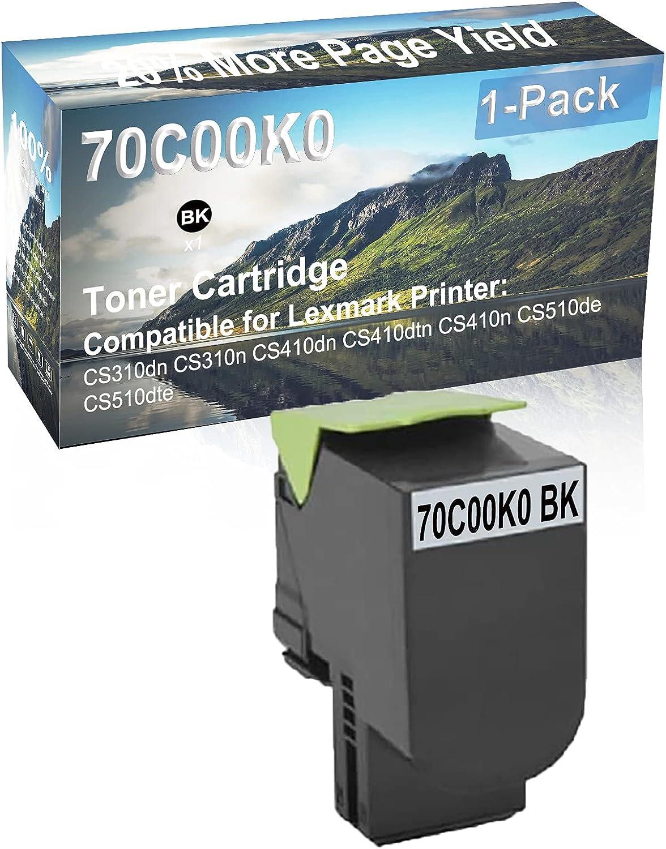 1-Pack (Black) Compatible High Yield 70C00K0 Laser Printer Toner Cartridge Used for Lexmark CS510de, CS510dte Printer