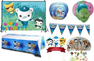 Party Decorations Octonauts Backdrop Table Cover Banners Birthday Cake Topper 24 Cupcake Toppers 10 Paper Plates 10 Balloo...