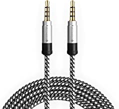 Everycom AUX Cable 1.5 Meters / 5 Ft. - Alloy Shell Stereo Output Nylon Braided Auxiliary Audio Cable for Car Stereos, Smartphones, iPod - White