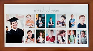 Green Pollywog School Years Picture Day Collage Frame in Elegant Brown Natural Wood, Photos from Kindergarten to Graduation