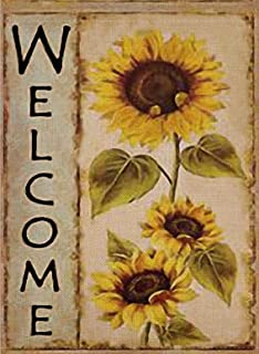 Selmad Welcome Sunflower Garden Flag Farm Sunshine Flower Double Sided, Fall Floral Rustic Burlap Decorative House Yard De...