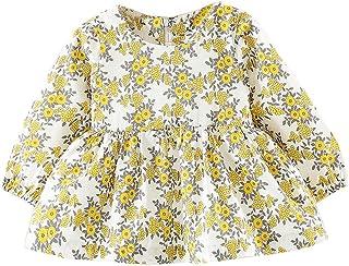 子供ドレス Jopinica 女の子 花 プリント 長袖 パーティー プリンセス ドレス コットン ラウンドネック 膝スカート 通気性 肌に優しい かわいい ミニドレス ファッションカジュアル