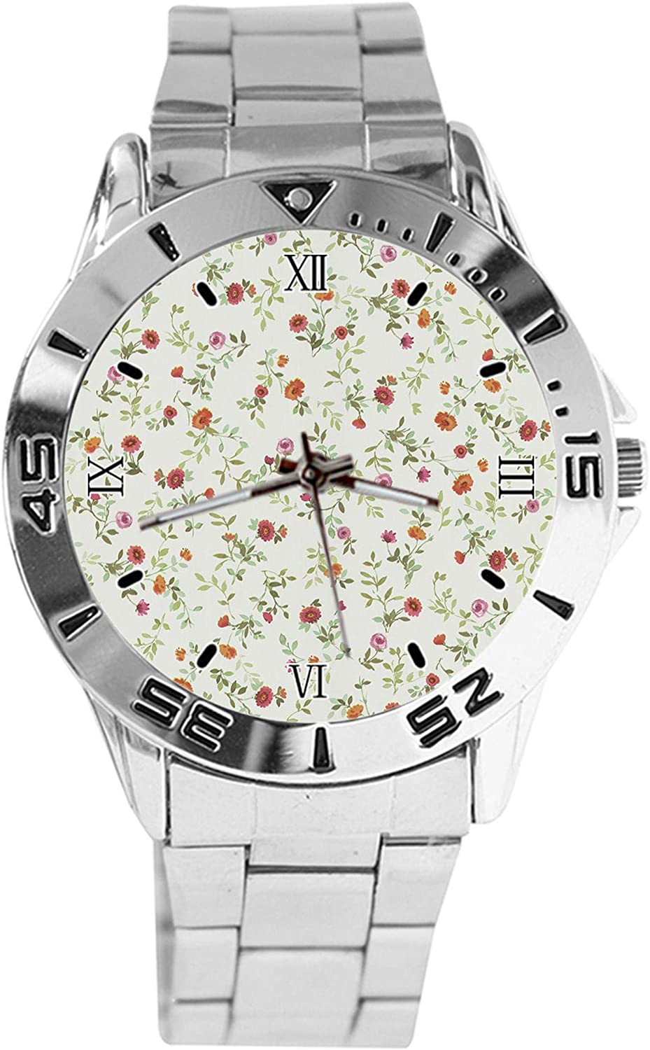 Oakland Mall Floral Design Analog Wrist Watch Dial Stai Max 60% OFF Silver Quartz Classic